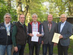 An der Preisverteilung nahmen folgende Schützen teil v.l.n.r: Horst Bockemüller, Werner Mix, Karl-Heinrich Belte, Rüdiger Hoffmann, Gebhard Gohla